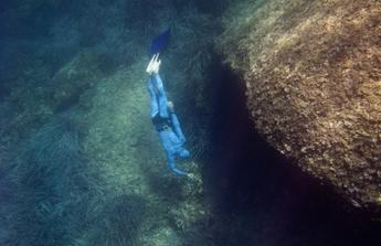 Free Diver Underwater Rocks
